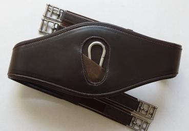 """ATH Soft Contact"" Premium Leather Girth with Widened Central Part and Snap Hook, dark brown, 125 cm, B-Stock"