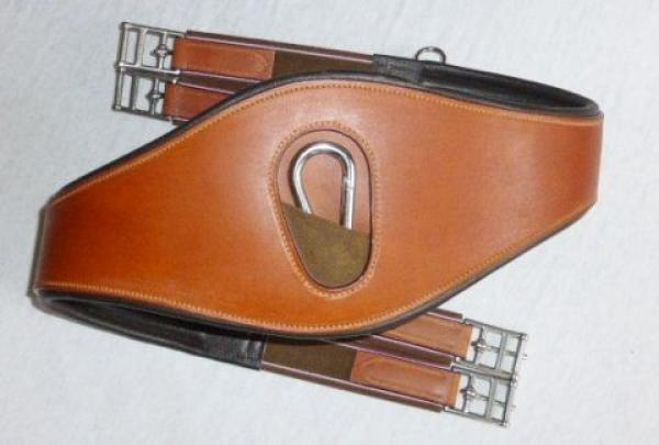 """ATH Soft Contact"" Premium Leather Girth with Widened Central Part and Snap Hook, light brown, 135 cm, B-Stock"
