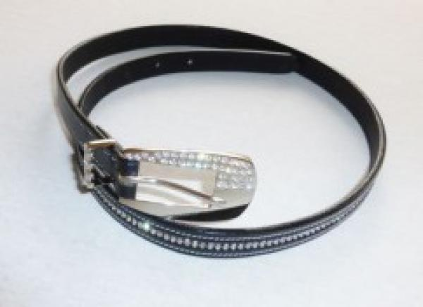 Leather Belt with Two Rows of white/silvery Rhinestones