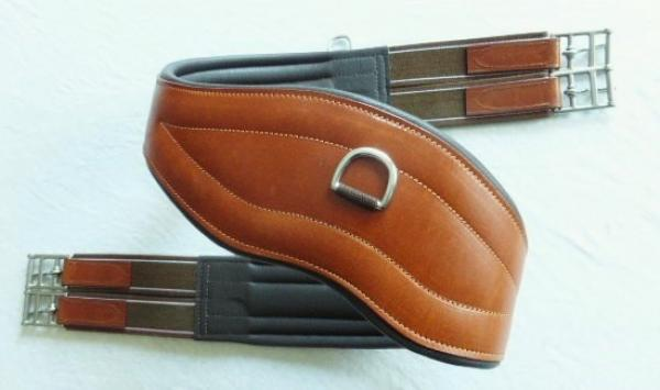 "Leather girth ""ATH Evolution"" anatomically shaped, light brown, 120 cm, B-Stock"