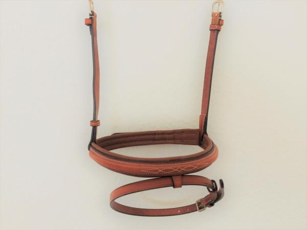 Flash Noseband for Soft&Classy II or Similar Bridles, leather, light brown/silver